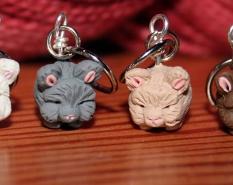 Angora Rabbit Stitch Markers (set of 4 polymer clay miniature sculpted animal knit, crochet accessories)