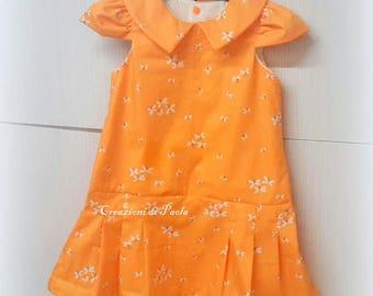 Orange girl summer dress with ruffled skirt