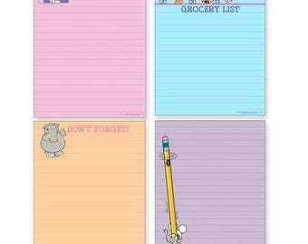 Cute Note Pad Assorted Pack - 4 Funny Pads - 601