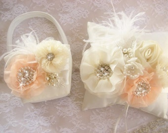 Flower Girl Basket, 3D, Ring Bearer Pillow,Peach Flower Girl Basket Set Wedding Pillow Elegant and Classic, other colors