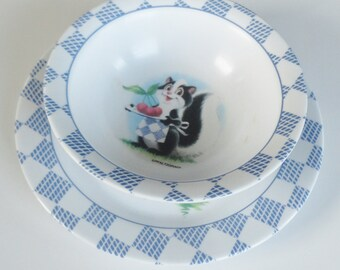 2 Pc Pfaltzgraff Hopscotch Plate & Bowl SET - Melamine Kids Dish Set   - Baby Shower gift, Toddler Birthday, Retro 90s Collectible Dishes