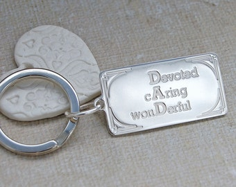 Personalised Sterling Silver DAD Keyring, Gift for Dads, Personalised Fathers Day Gift, Silver Keyring, Personalised Key ring, Dad birthday