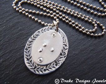 Braille initial necklace Braille jewelry personalized