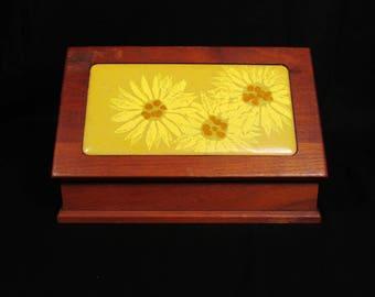 Vintage Bovano Sunflower Enameled Copper Cigarette Box