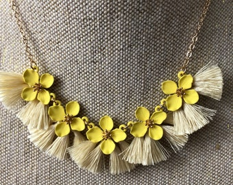 Yellow Necklace, yellow statement necklace, yellow flower necklace, statement necklace, yellow tassel necklace, birthday gift, gift for mom