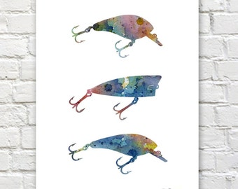 Bass Fishing Lures Art Print - Abstract Watercolor Painting - Wall Decor