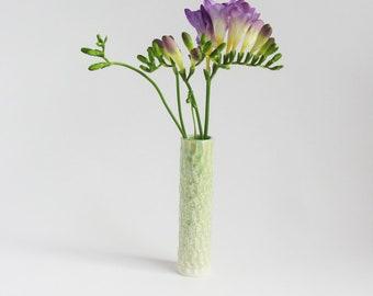 Green sea foam vase, bud vase, contemporary vase, carved vase, porcelain vase, Mother's Day gift, wedding gift, birthday gift