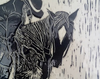 Equestrian Art, Sgraffito Carved, Framed Art Tile, Wall Tile, Girl on Horse, Black and White Sgraffito Tile, Carved Tile, Ranch House Decor