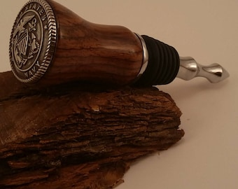 Wine Stopper in Honduras Rosewood with a Navy concho