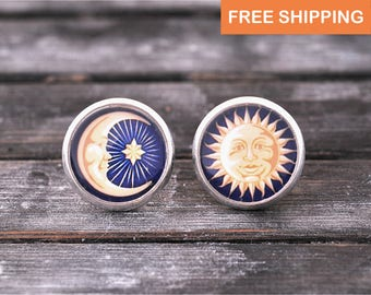 Sun and moon earrings, crescent moon jewelry, blue earrings, birthday gift for her, gift for daughter, girlfriend gift, stud earrings