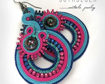 Colorful Dangle Earrings, Colorful Soutache Earrings, Handmade Beaded Jewelry, pink Earrings, Colorful Earrings, long frida earrings