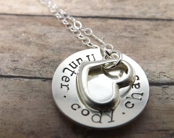 Valentines Day-Mommy necklace-Handstamped-personalized-sterling silver necklace- personalized necklace- heart necklace-gift for mom