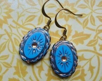 Sky Blue Earrings - Glass Earrings - Vintage Earrings - Sky Blue Jewelry - Intaglio Jewelry - Sunburst Earrings - Vintage Style Jewelry
