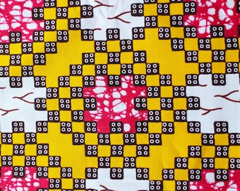 African WAX fabric graphic puzzle yellow brown red and white 100% cotton reversible
