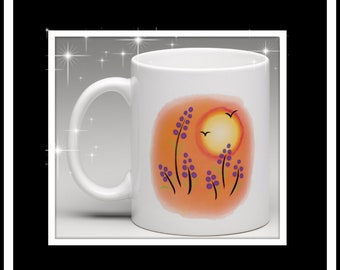 Australian Handdrswn design printed mug Summer dayz collection - orange