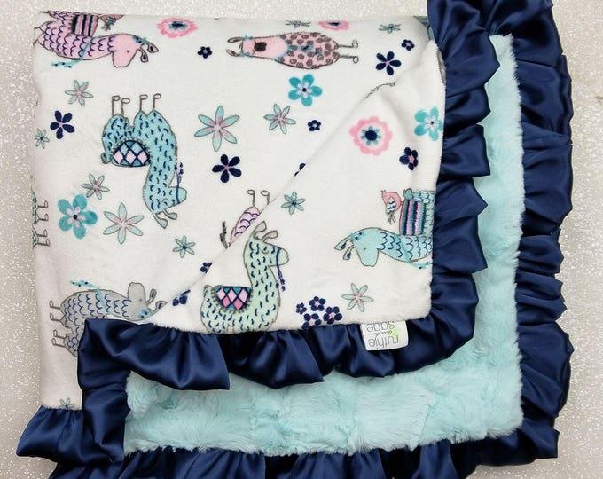 Minky Blanket, baby girl, Llama, navy and aqua, aqua and pink, mint, custom girl blanket, soft blanket, baby gift, crib bedding, ruffle