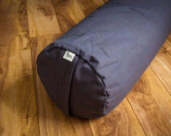 Yoga bolster Dark Gray Plain buckwheat body pillow restorative practice yin by Creations Mariposa