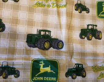 Vintage JOHN DEERE Tractor and Checkered Pillowcase