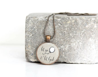 Let go and let God- Handcrafted Concrete Necklace in Copper or Silver on 24 inch Petite Ball Chain. Ready to Gift. Free Shipping in USA