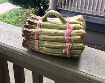 Kitschy Asparagus Ceramic Container