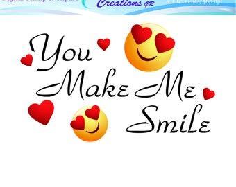You Make Me Smile Digital Stamp, Love Stamp, Heart Stamp, Smile Stamp, Valentines Stamp, Cards, Invites, For Personal And Commercial Use