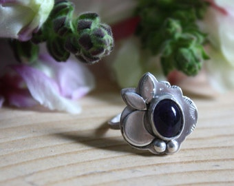 Sterling silver amethyst ring - moon ring - purple - large ring -  engagement ring - nature - botanical - floral - LITTLE HAMALAYA MOON