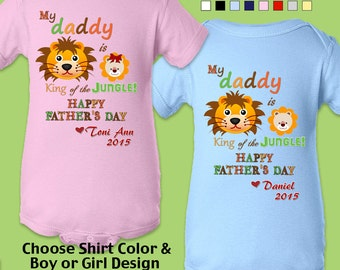 Happy Father's Day - My Daddy is King of the Jungle - Bodysuit / Boys / Girls /Personalized with Name & Year.