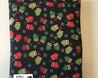 Red/Green Mittens Book Sleeve - Small
