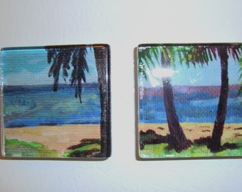 Beach Art Magnets, Glass Square, Large 2 Inch, set of 2