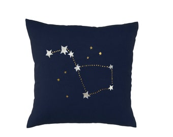Big Dipper Pillow - Modern Hand Printed Square Zippered Throw Pillow Cover in Navy and Gold - 18x18