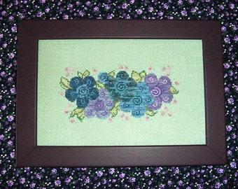 Purple Flowers Flowers Cross Stitch Pattern
