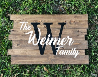 Family Wooden Sign | Monogram Name | Family Name with Initial | Rustic Name Sign | Wedding Gift | Housewarming Gift