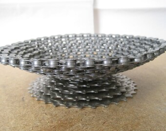 Upcycled bicycle chain bowl on large sprocket