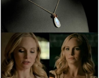 "Rainbow Moonstone & Garnet Cluster Necklace, Worn on ""The Vampire Diaries"", Caroline Necklace, TVD Jewelry, Dainty Necklace"