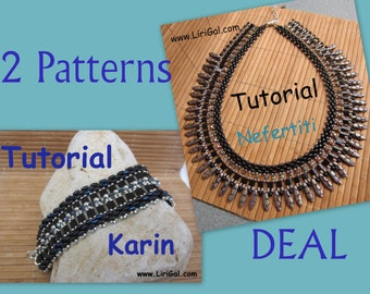 2 patterns deal.Tutorial Karin and Nefertiti SuperDuo and Tila Beadwork Bracelet and Necklace  PDF