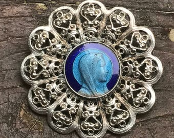 Holy Virgin Mary Vintage Brooch with Blue Enamel Religious Medal Jewelry
