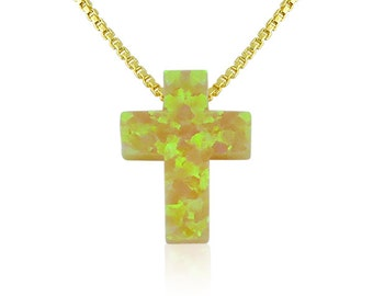 Opal Cross Necklace, Yellow, Very Rare! In Gold Plated 925 Sterling Silver Chain and 100% Safe to Get Wet • An Ideal Yellow Jewelry Gift