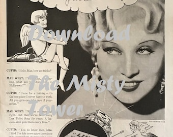 Mae West with Cupid Lux Soap Ad - Delineator May 1934