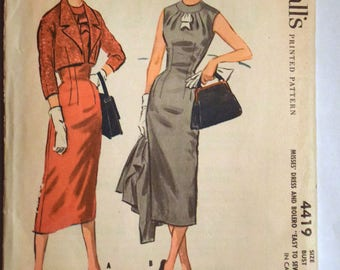 McCall's 1950s Sheath Dress and Jacket Sewing Pattern 4419 Size 14 Bust 34