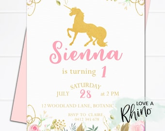 Unicorn Invitation | Birthday Party | Pink & Gold | Floral | Invitation | Digital Download | Printable | Adorable | First Birthday