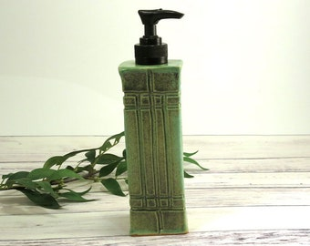 Pottery Soap Dispenser Liquid Soap Pump, Arts and Crafts Mission Style, Hand Soap Dispenser, Handmade Pottery Liquid Soap, Blue-Green, 776