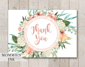 Floral Folded Thank You Note, Peach Thank You Note, Peach Floral Thank You Note, Peach Folded Note, Watercolor Stationery, Peach and Cream