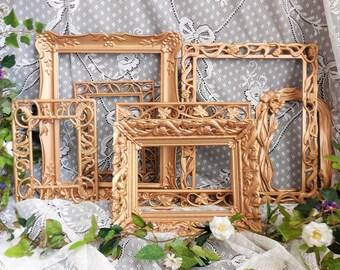 Ornate Rose Gold Frame Set, 7 Metal Frames with Floral Filigree, Picture Collage, Wedding Decor, Nursery, Gallery Wall, Photo Frame Set
