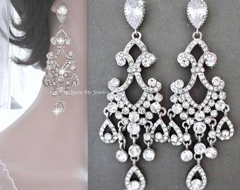 Silver Chandelier earrings Crystal chandelier earrings Sterling Silver Brides earrings Statement earrings Chandelier wedding earrings ABRI