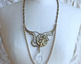 Art Nouveau Brass and Quartz Bib Necklace