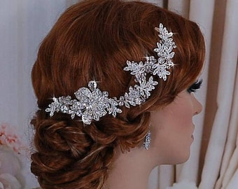 Crystal Bride Wreath Vine Wedding Bridal Comb Accessories Hairpiece Hair Head Piece Jewelry Pageant Clip Headpiece Weddings Brides Accessor