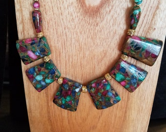 Dyed jasper necklace and earring set