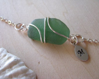 Sale Surf Tumbled Sea Glass Bracelet Green Real Seaglass Olive Beach Glass Jewelry Wire Wrapped Bracelet Natural Sea Glass Simple Bracelet