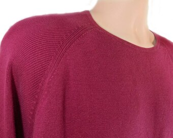 men's burgundy pullover shirt , boyfriend knit sweater, burgundy crew neck sweater,-   large sweater, # 215