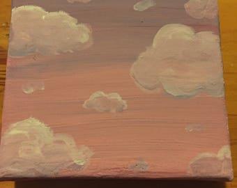 Hand painted gouache cloud scene